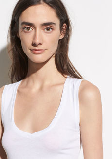 Vince Sleeveless Pima Cotton V-Neck