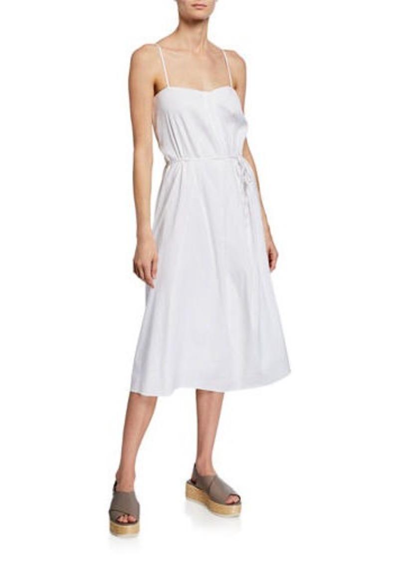 Vince Sleeveless Square-Neck Drape-Front Midi Dress