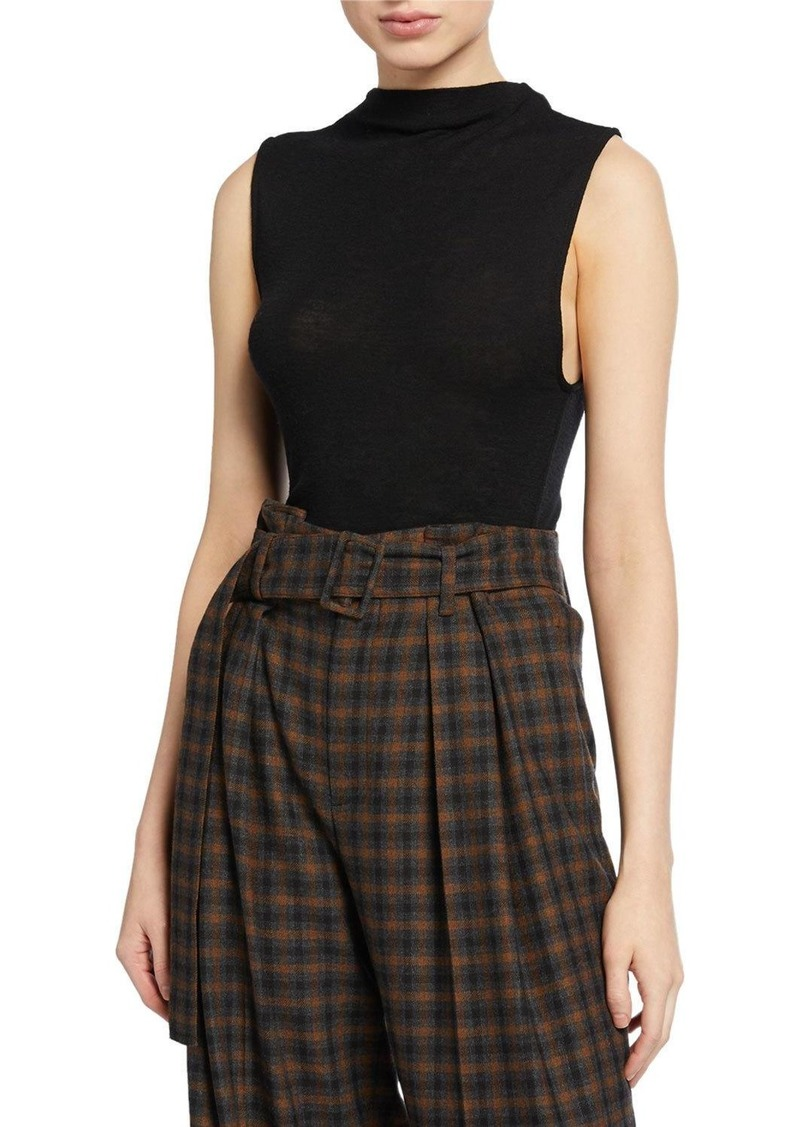 Vince Sleeveless Wool Funnel-Neck Top
