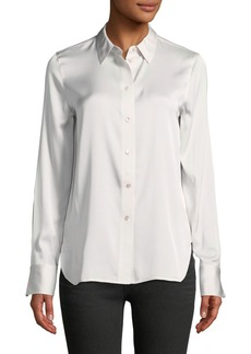 Vince Slim Button-Front Silk Satin Blouse
