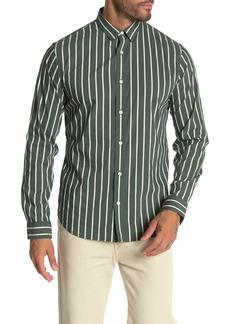 Vince Slim Fit Column Stripe Long Sleeve Sport Shirt
