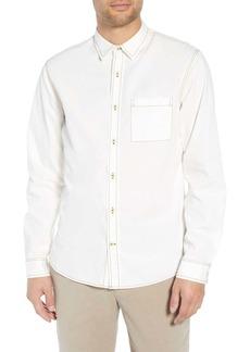 Vince Slim Fit Contrast Stitch Sport Shirt