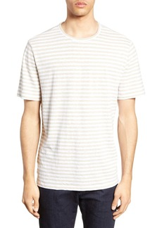 Vince Slim Fit Stripe Linen & Cotton T-Shirt