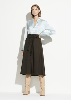 Vince Slim Satin Band Collar Blouse