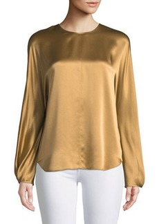 Vince Slit-Back Long-Sleeve Satin Blouse