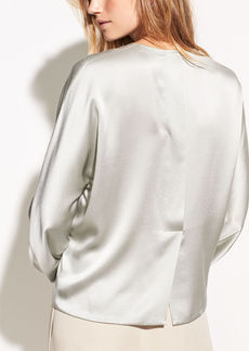 Vince Slit Back Satin Back Crepe Blouse