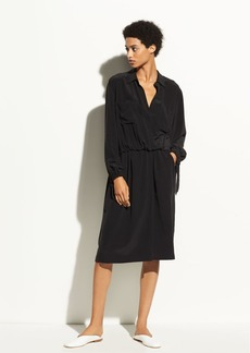 Slit Back Silk Shirtdress