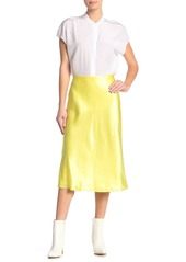 Vince Solid Pull-On Satin Skirt