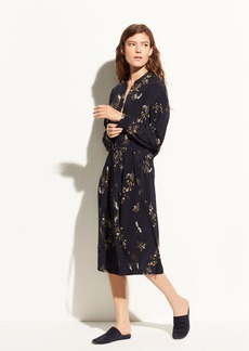 Spaced Floral Gathered Silk Shirtdress