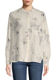 Vince Spaced Floral Silk Button-Down Shirt