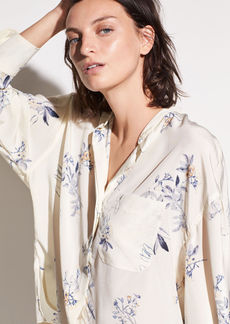 Vince Spaced Floral Single Pocket Silk Blouse