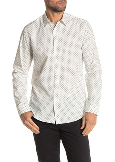 Vince Sphere Dot Print Long Sleeve Woven Slim Fit Shirt