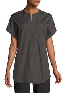 Vince Split-Neck Boxy Button-Front Blouse