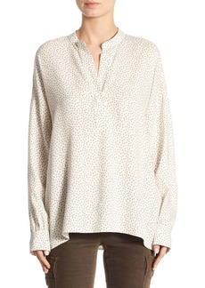 Vince Split Neck Polka Dot Blouse