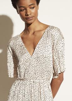 Vince Stone Dot Short Sleeve V-Neck Dress
