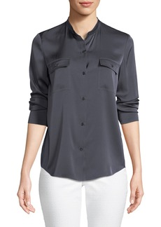 Vince Stretch-Silk Button-Front Blouse