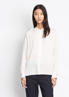 Stretch Silk Pintuck Placket Blouse