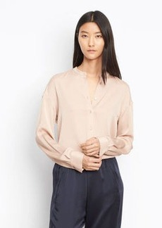 Vince Stretch Silk Pintuck Placket Blouse
