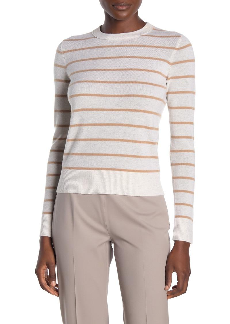 Vince Stripe Print Overlay Cashmere Crew Neck Pullover Sweater