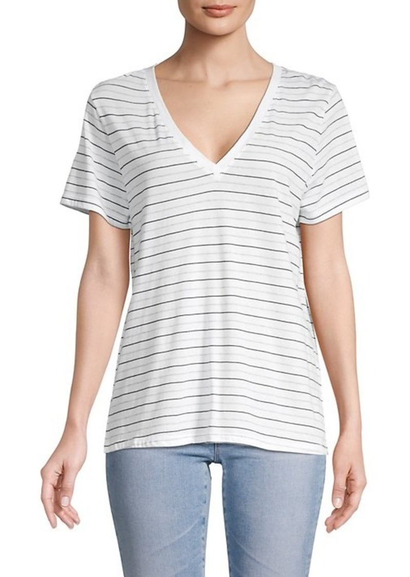 Vince Stripe V-Neck Cotton T-Shirt
