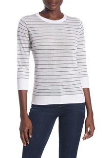 Vince Striped 3/4 Length Sleeve Knit Top