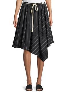 Vince Striped Asymmetric Rope-Tie Skirt