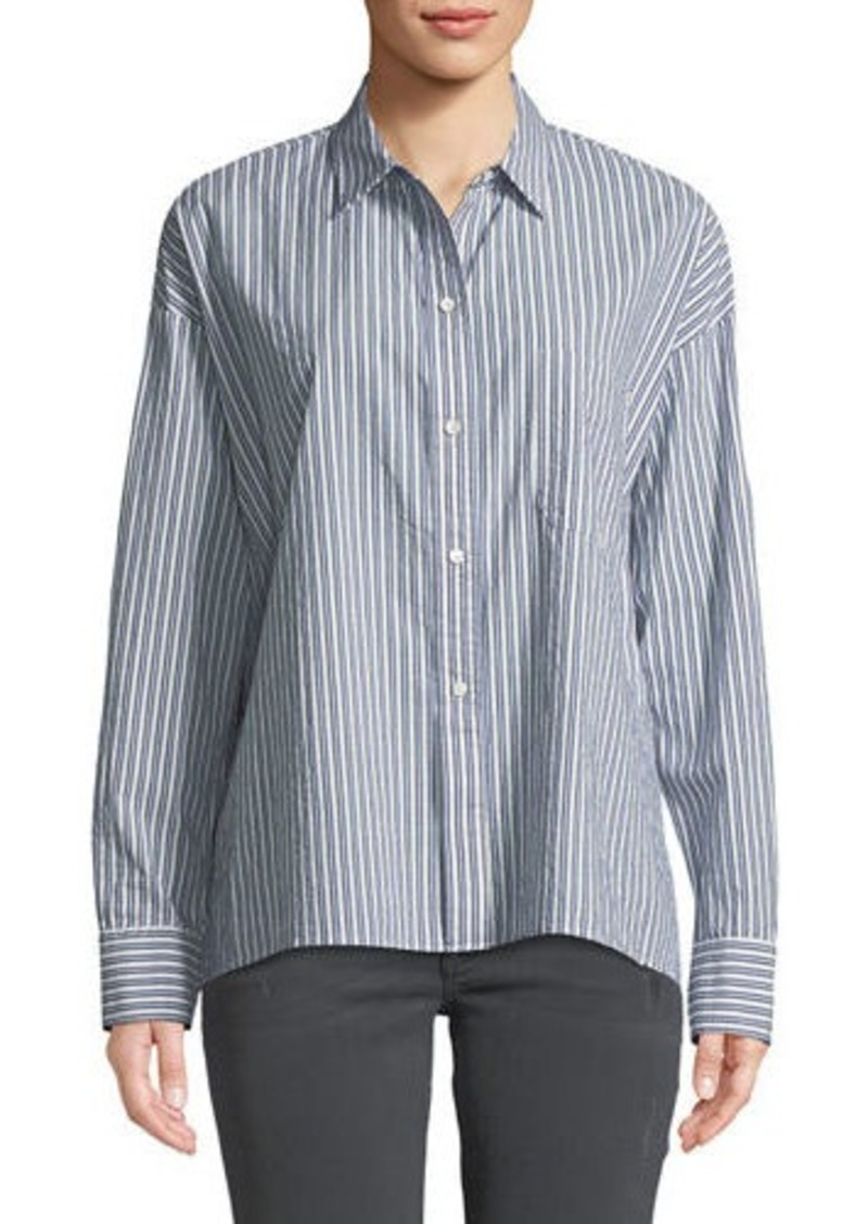 Vince Striped Boxy Button-Front Shirt