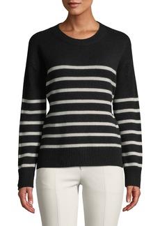 Vince Striped Boxy Crewneck Cashmere Sweater w/ Tie