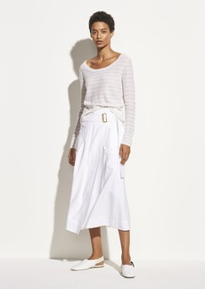 Vince Striped Cashmere Double Scoop Neck Pullover