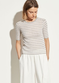 Vince Striped Cashmere Elbow Sleeve Pullover