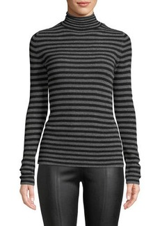 Vince Striped Cashmere Ribbed Turtleneck Top