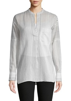 Vince Striped Cotton & Silk Shirt