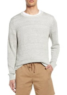 Vince Striped Crew Neck Linen Sweater