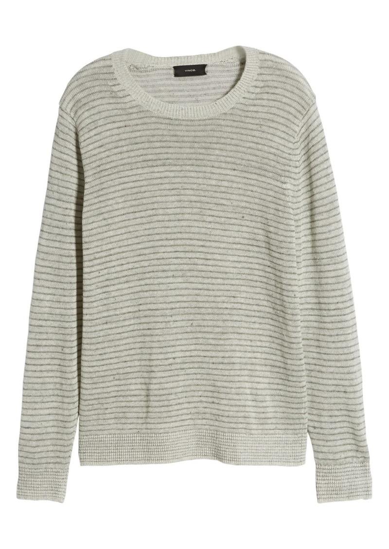 Vince Striped Crew Neck Linen Sweater