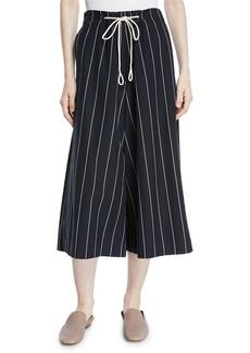 Vince Striped Drawstring Side-Slit Culottes