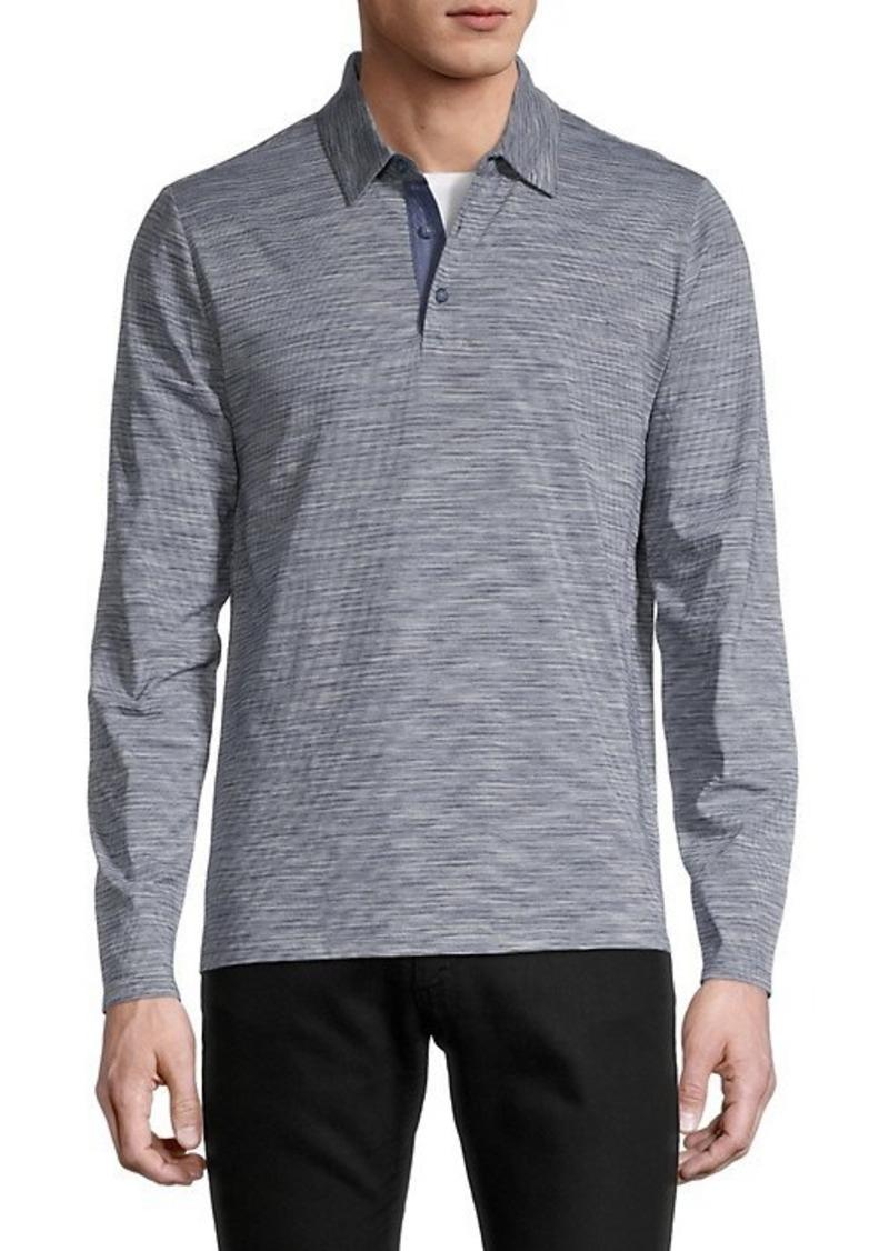 Vince Striped Long-Sleeve Cotton Polo