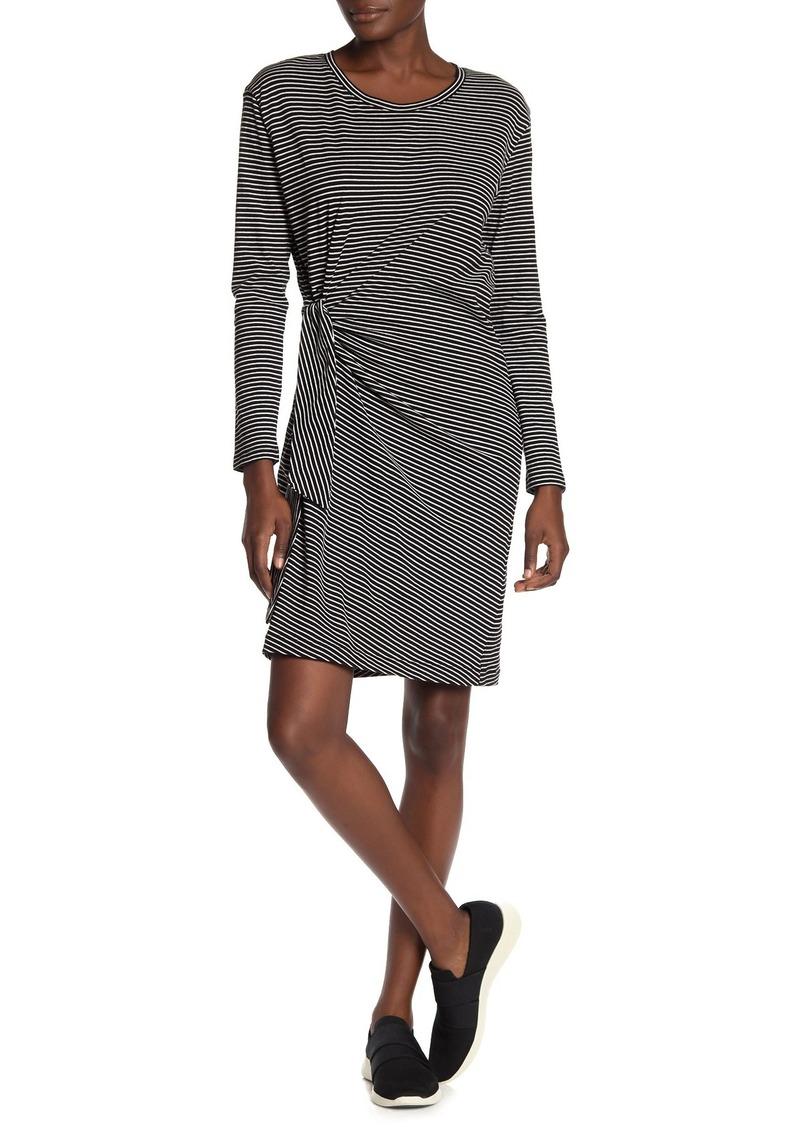 Vince Striped Long Sleeve Side Tie Dress