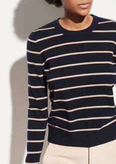 Vince Striped Overlay Cashmere Crew