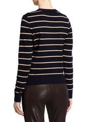 Vince Striped Overlay Cashmere Crewneck Sweater