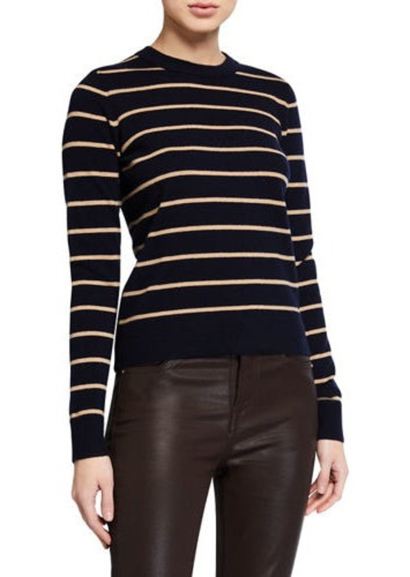 Vince Striped Overlay Cashmere Crewneck Sweater