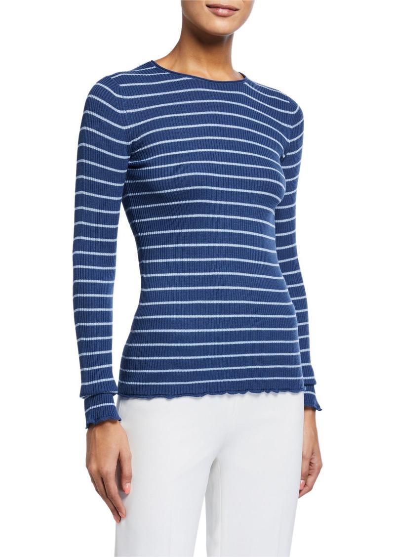 Vince Striped Rib Crewneck Sweater