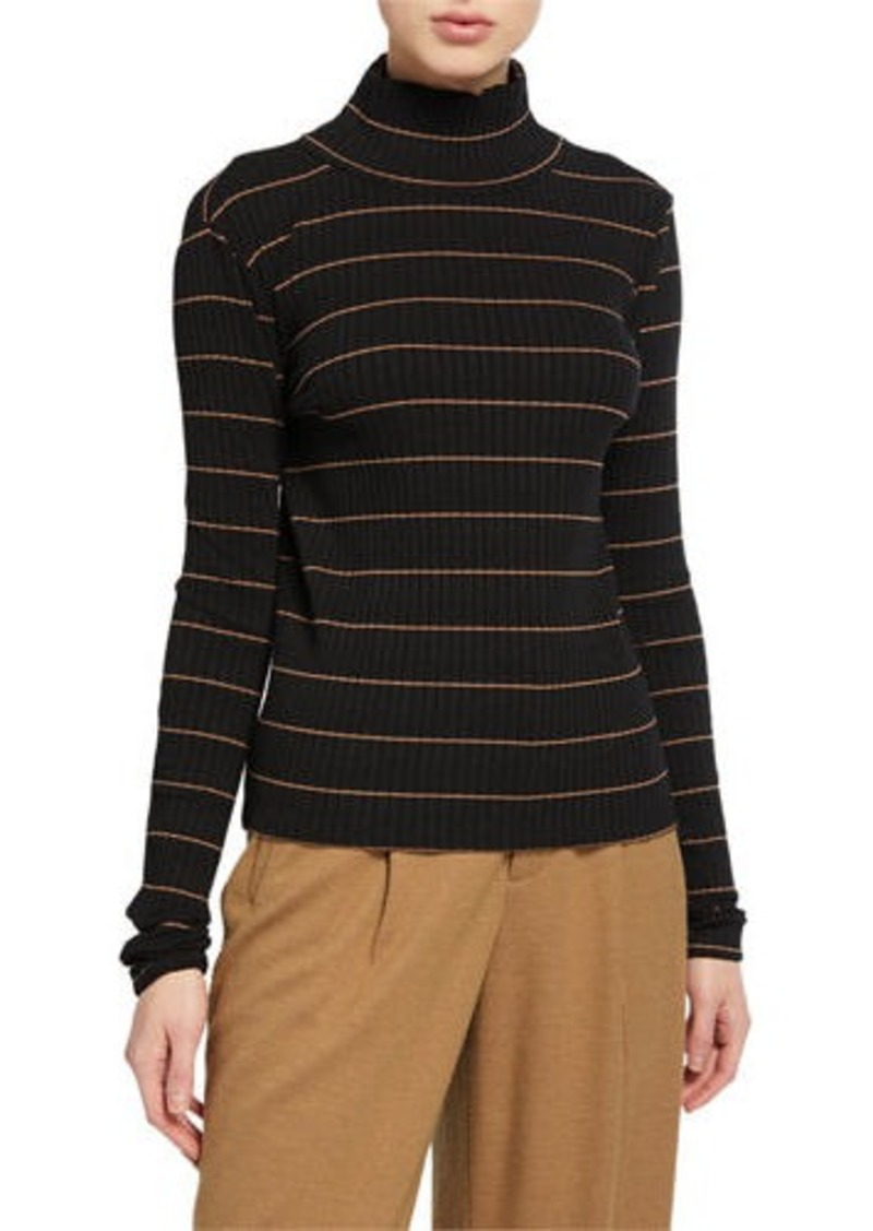 Vince Striped Rib Turtleneck Pullover