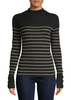 Vince Striped Roll-Edge Cashmere Sweater