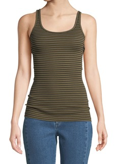 Vince Striped Scoop-Neck Tank Top
