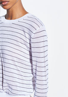 Vince Striped Textured Long Sleeve