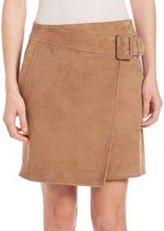 Vince Suede Asymmetrical Belted Skirt