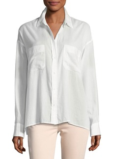 Vince Textured Double-Placket Blouse