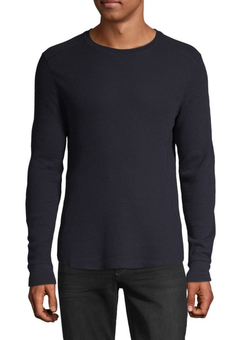 Vince Textured Long-Sleeve Cotton-Blend Tee