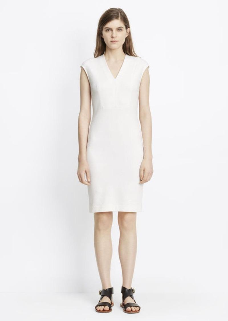 03134385752 Vince Textured Ponte V-Neck Bib Sheath Dress