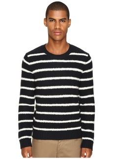 Vince Textured Striped Merino Blend Long Sleeve Crew Neck Sweater